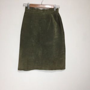 Vintage Olive Green Suede Leather Skirt